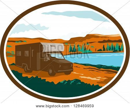 Illustration of a camper van motorhome rv traveling in desert or arid steppe with water basin lake in the background set inside oval done in retro style.