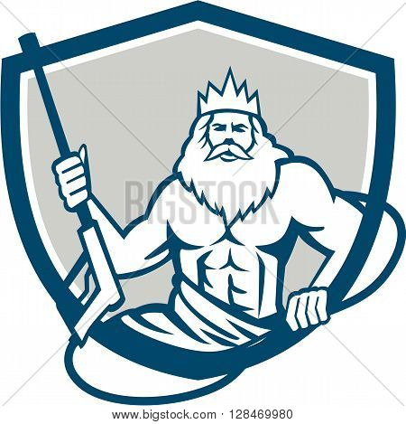 Illustration of a Neptune roman god of sea holding pressure power washer water blaster viewed from front set inside shield crest on isolated background done in retro style.