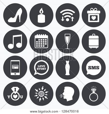 Wifi, calendar and mobile payments. Wedding, engagement icons. Ring with diamond, gift box and music signs. Dress, shoes and champagne glass symbols. Sms speech bubble, go to web symbols.