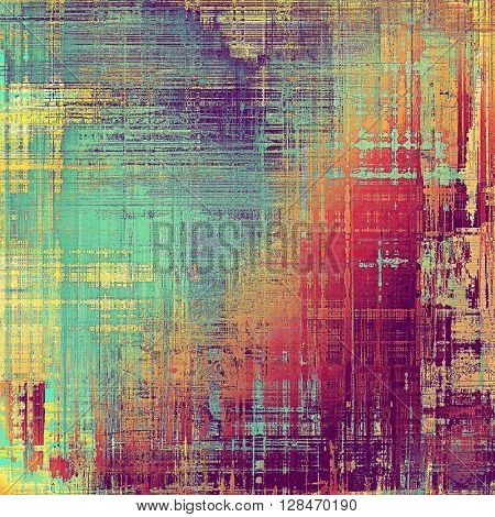 Vintage template or background with grungy texture, antique decor and different color patterns: yellow (beige); blue; red (orange); purple (violet); pink; cyan
