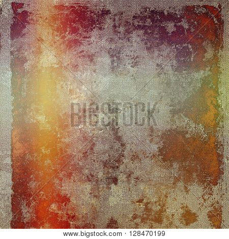 Old style decorative composition or designed vintage template with textured grunge elements and different color patterns: yellow (beige); brown; gray; red (orange); pink