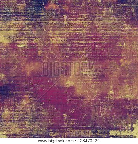 Aged textured background, macro closeup with different color patterns: yellow (beige); brown; red (orange); purple (violet); pink