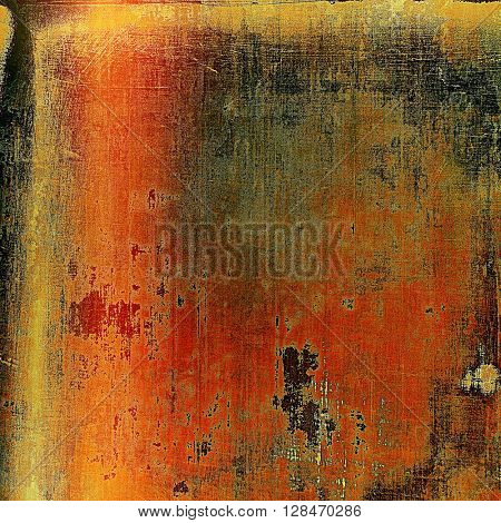 Old grunge background or aged shabby texture with different color patterns: yellow (beige); brown; gray; red (orange); black