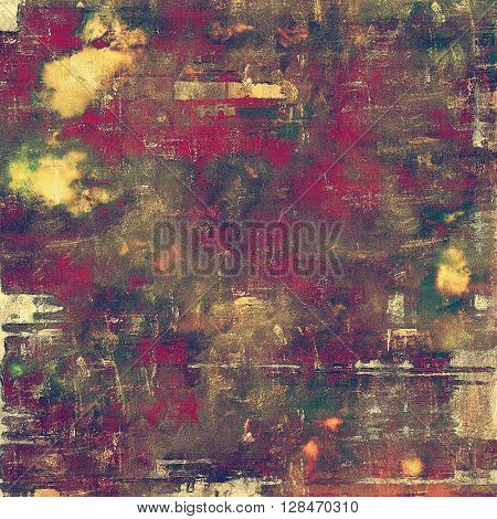 Oldest vintage background in grunge style. Ancient texture with different color patterns: yellow (beige); brown; gray; green; red (orange); purple (violet)