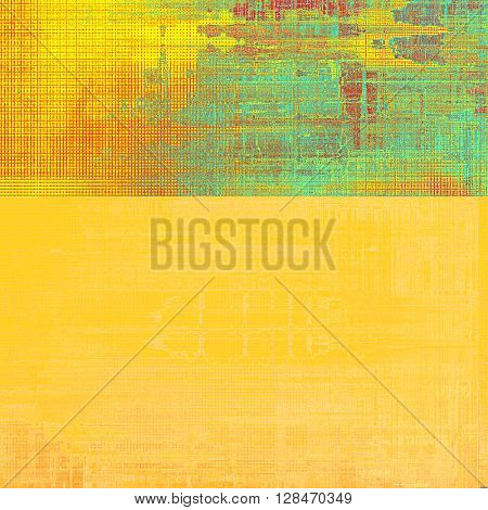 Grunge scratched background, abstract vintage style texture with different color patterns: yellow (beige); green; blue; red (orange); cyan