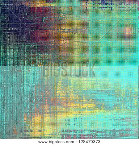 Sharp textured background, aged vintage backdrop with grungy style elements and different color patterns: yellow (beige); blue; red (orange); purple (violet); cyan