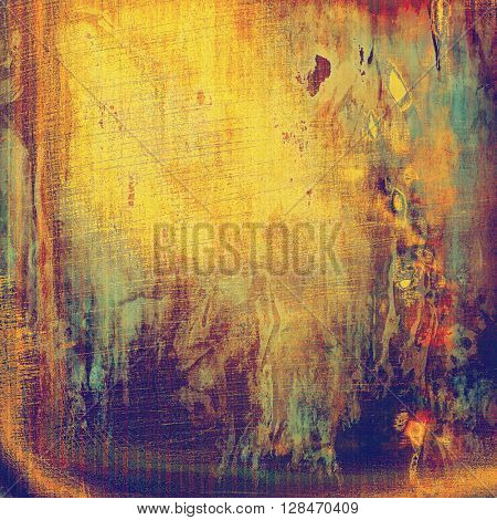 Old style distressed vintage background or texture. With different color patterns: yellow (beige); blue; red (orange); purple (violet); pink; cyan