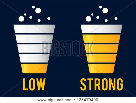 Vector stock of beer cup with low and strong content level icon