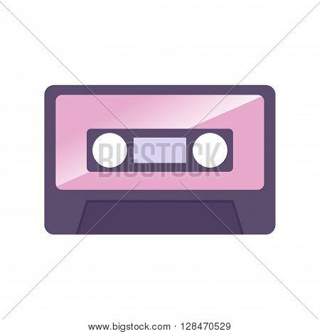Vector illustration of simple vintage audio cassette icon