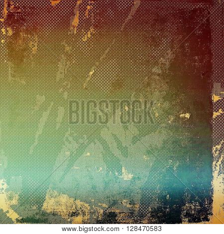 Aged textured background, macro closeup with different color patterns: yellow (beige); brown; green; blue; red (orange); purple (violet)
