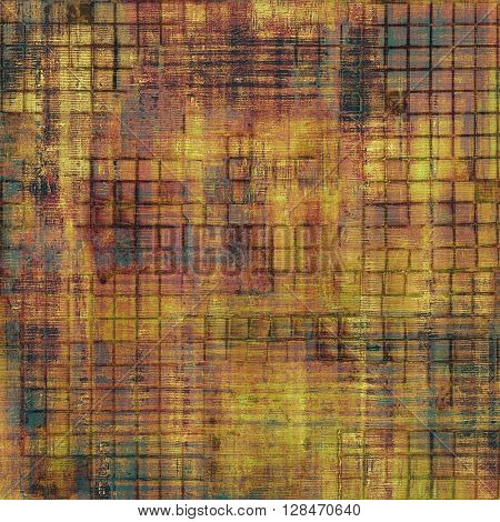 Old style decorative composition or designed vintage template with textured grunge elements and different color patterns: yellow (beige); brown; gray; red (orange); purple (violet); black