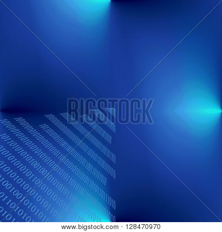 Abstract deep sea gradients cooloring background with seamless effect, binary numbers one and zero
