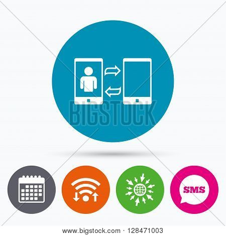 Wifi, Sms and calendar icons. Change Video call to simple call sign icon. Smartphone symbol. Go to web globe.