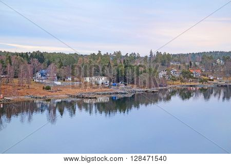 Landscape with the image of Baltic sea bank near Stockholm, Sweden