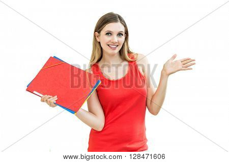 woman with a folder holding hand presenting a product