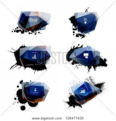 set of six abstract glossy labels