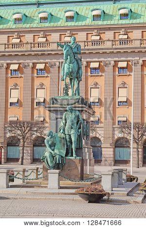 Monument of Gustavus Adolphus in Stockholm, Sweden.