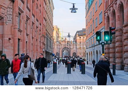 Landscape with the image of Old Town street in Stockholm, Sweden