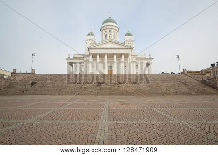 St. Nicholas Church and a monument of Alexander II on the Senatorial area in Helsinki, Finland.
