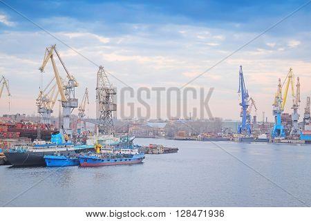 Cargo port in St. Petersburg, Russia