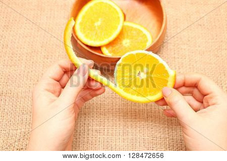 fruit in a wooden plate exposed to excellent illustration of orange background of burlap spinning the main arm in termination of orange ready for consumption