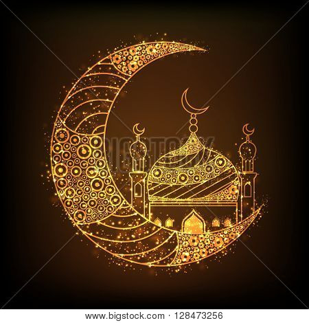Beautiful floral design decorated, Glowing Golden Crescent Moon with Mosque on brown background for Islamic Festivals celebration.
