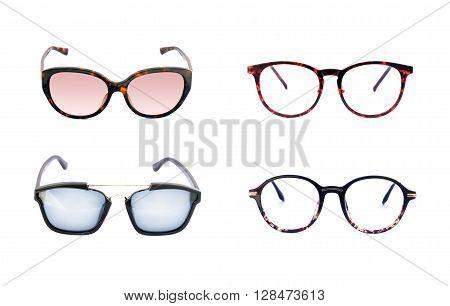 Image of sunglasse and frame eyeglasse on white background.
