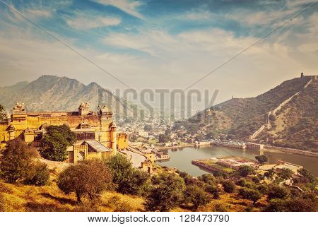 Indian travel famous tourist landmark - vintage retro effect filtered hipster style image of  view of Amer (Amber) fort and Maota lake, Rajasthan, India