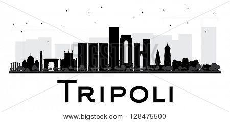 Tripoli City skyline black and white silhouette. Vector illustration.