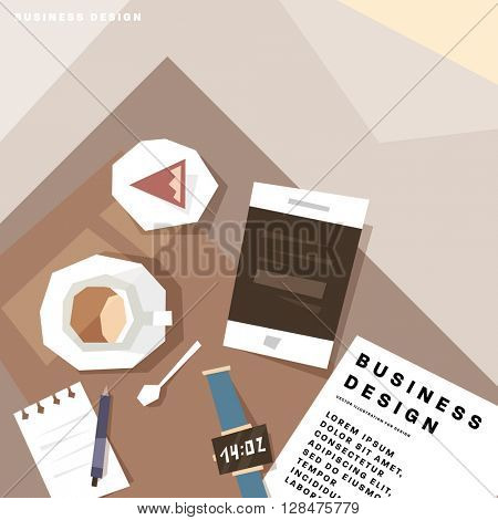 Top View Businessman Workplace. Coffee Cup, Cupcake, Tablet PC, Notepad and Pencil