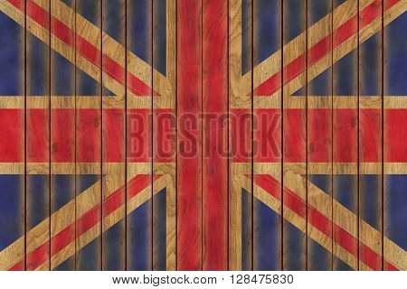 Illustration of the British flag against a background of wooden panels