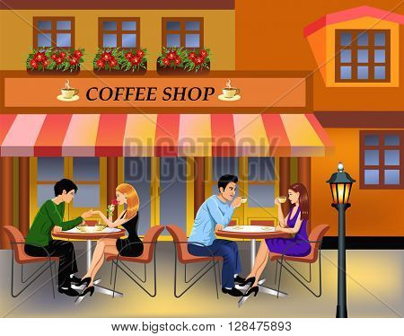 couples drinking coffee in town