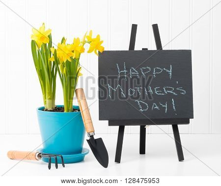 Beautiful spring daffodils and a Mothers Day message on a slate.