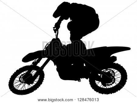 Man on flying bike on white background