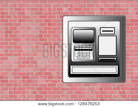 Sidewalk ATM Machine on Brick Wall - Vector with Copyspace
