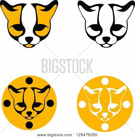 set of stylized images ocelot head black and yellow silhouette of a head of a wild cat line logos on a white background