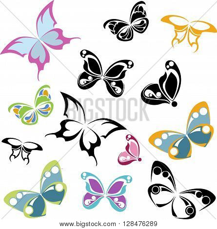 black and multi-colored silhouettes of butterflies on a white background stylized butterfly