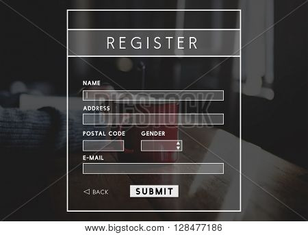 Register Registration Account Profile Name Concept