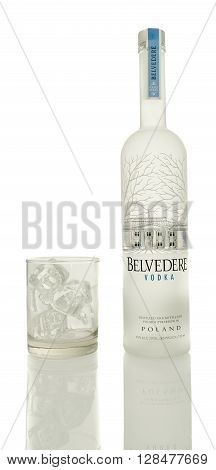 Winneconne WI - 4 Mayl 2016: Bottle Belvedere Vodka with a glass of ice on an isolated background