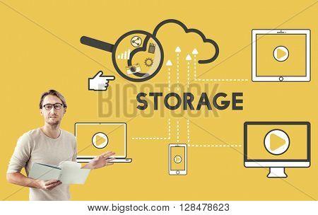 Storage Cloud Connection Devices Technology Concept