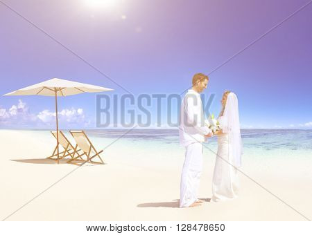 Couple Getting Marriage on the Beach Concept