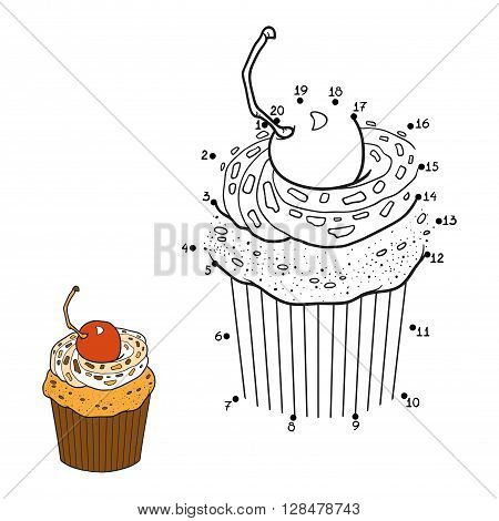 Numbers Game, Vector Cupcake With Cherry Berry