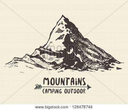 Mountains sketch contours engraving hand drawn vector
