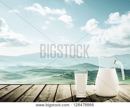 milk and sunny spring day, tuscany, Italy