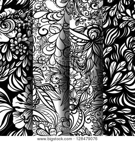 Set of fantasy abstract floral patterns. Zentangle patterns. Vector illustration.