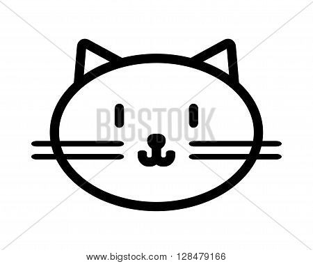 Cat muzzle. Flat linear black and white icon of pet. Vector illustration