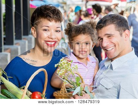 Attractive Family At Farmers Market