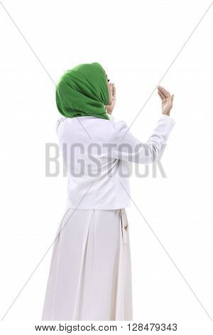 Back View Of Muslim Woman Praying