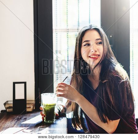 Woman Drinking Beverage Coffee Shop Lifestyle Concept