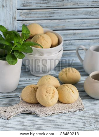 Simple cookies on a light wooden background. Kitchen still life in rustic style